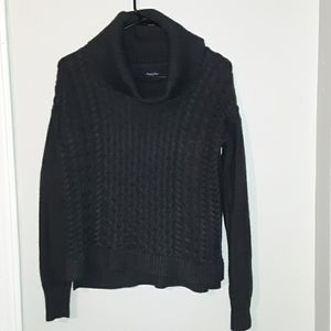 Cowl neck gray cable knit sweater (xs)